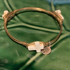 Bourbon and Bowties Gold Wired Cross Bracelet